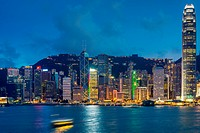Victoria harbour after sunset, Hong Kong