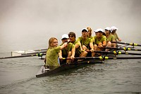 The Lake Casitas Rowing Team works some on drills at Lake Casitas in Ojai, California.