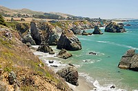 Rock Formations Along The California Coastline, California United States Of America