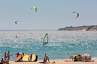 Kitesurfing And Windsurfing Off The Valdevaqueros Beach, Tarifa Cadiz Andalusia Spain