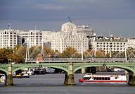 Westminster Bridge foreground and Waterloo Bridge background, London, England, UK