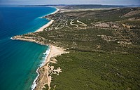 Secret desertic beach in Bolonia, right between Bolonia´s duna and Zahara de los Atunes´s ´playa de los Alemanes´. Lighthouse on the cliff. Cádiz area...