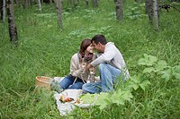 Mid_adult couple enjoying a picnic in the woods