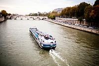 Tour Boat on the Seine River, Paris, France