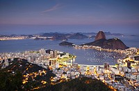 View of Sugar Loaf Mountain Pao de Acucar and Botafogo Bay at dusk, Rio de Janeiro, Brazil, South America