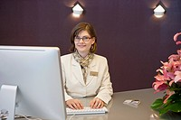 Portrait of receptionist in hotel
