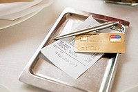 Tray with receipt and credit card