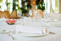 Elegant place setting in restaurant