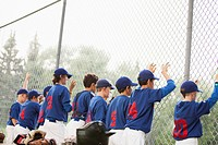 View from behind of boys baseball team along chainlink fence (thumbnail)