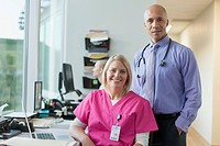 Portrait of doctor and nurse in office