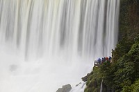 Tourists at Bossetti Falls, Iguazu Falls, Iguazu National Park, UNESCO World Heritage Site, Misiones, Argentina, South America