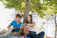 Teenage couple with guitar and pc tablet in park