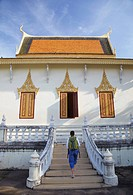 Woman at Silver Pagoda in Royal Palace, Phnom Penh, Cambodia, Indochina, Southeast Asia, Asia