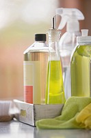 Group of household cleaning products