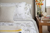 Close_up of pillows on contemporary bed