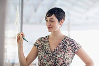 Young adult businesswoman with serious look at whiteboard