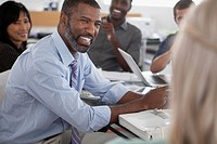Middle_aged African American businessman in meeting