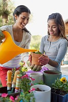 Sisters watering plants outdoors
