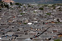 Residential rooftops at the ancient city of Lijiang, Yunnan Province, China