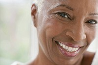 Close_up portrait of healthy middle_aged woman.