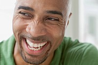 Close_up of African American man laughing