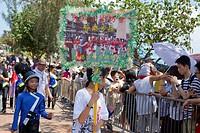Parade, part of the Bun festival procession performing at Cheung Chau, Hong Kong