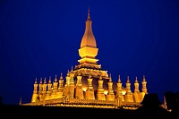 Laos  Vientiane  Nighttime photo of the pagoda lit