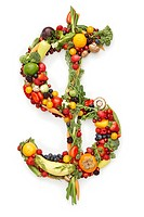 Money symbol, $, in produce