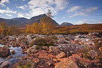 Stob a Ghlais Choire with the river Etive flowing past it, an area on the corner of Glen Coe and Glen Etive, Scotland, United Kingdom, Europe