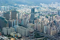 Bird´s eye sweep of Mongkok area from Sky100, 393 metres above sea level, Hong Kong