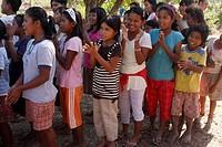 Mangyan children grouping outdoor, Abra de Ilog, Mindoro Province, Philippines,