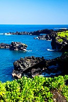 Sunny Day at the Black Sand Beach Near Hana on the Island of Maui