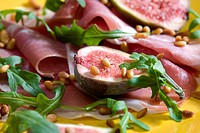 Spanish ham with figs and pine nuts