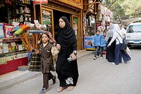 EGYPT  Street scenes in so called 'Islamic Cairo', the old quarter of the city near Bab Zuela  Mother and daughter