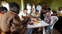 ETHIOPIA  The ´Salam Cafe´ in Chagni, Beni Shangul Gumuz region  Boys having breakfast of beans