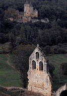 View of Chateau de Laussel from Chateau de Commarque, Les Eyzies-de-Tayac-Sireuil, Aquitaine. France.