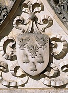 Crest, decorative detail from Chateau de Clerans, Saint-Leon-sur-Vezere, Aquitaine. France, 16th century.