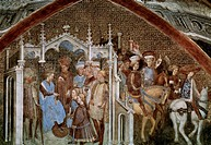 Juganda proposing marriage, detail from the Stories of Theodolinda, cycle of frescoes painted in the 15th century by the Zavattari brothers. Serpero M...
