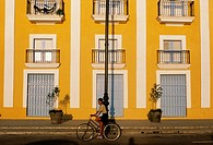 Yellow building facade, Havana, Cuba