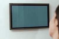 Woman Watching Blank Flat_panel Monitor