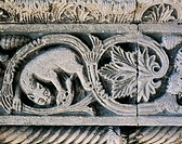 Detail from a decorative frieze in the Church of Santa Maria della Piazza, Ancona. Italy, 11th century.