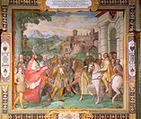 Cardinal Alexander, appointed by Pope Paul III, meets the Emperor Charles V and his brother Ferdinand King of the Romans near Worms, negotiate the bat...