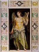 Figure of Angel, fresco by Raffaellino Da Reggio (1550-1578) in the Hall of the Angels of Palazzo Farnese, Caprarola. Italy, 16th century.