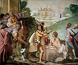 Foundation of Padua, Episode of the Myth of Antenor, 1650, by Luca Ferrari (1605-1654), fresco, hall in Villa Selvatico, Battaglia Terme, Veneto. Ital...