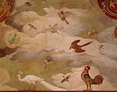 Detail from Hunting Scene, 1574-1581, by Antonio Tempesta (1555-1630), fresco. Villa Lante at Bagnaia. Italy, 16th century.