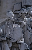 The painter Goncalves, detail from the Monument to the Discoveries Padrao dos Descobrimentos, Lisbon, by the sculptor Leopoldo Almeida. Portugal, 20th...