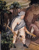 Falconer, detail from the Month of July, panel taken from Cycle of the Months, by Master Venceslao, fresco, Tower Aquila, Buonconsiglio Castle, Trento...