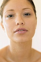 Young woman with wet skin
