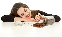 pretty woman with coffee beans