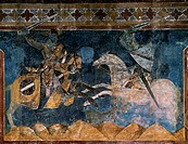 Tournament scenes dedicated to Charles of Anjou, 1292, Azzo of Masetto (active 13th century) fresco, Dante's Hall, People's Palace, San Gimignano (UNE...